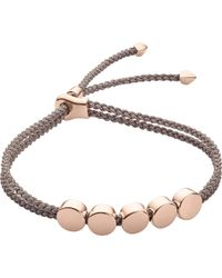 Monica Vinader | Metallic Linear Bead 18ct Rose-gold Plated Friendship Bracelet | Lyst