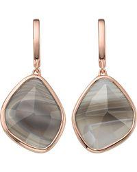Monica Vinader | Metallic Siren 18ct Rose-gold Vermeil Grey Agate Stud Earrings | Lyst