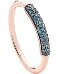 Monica Vinader | Stellar 18ct Rose Gold-plated Vermeil And Blue Diamond Stacking Ring | Lyst