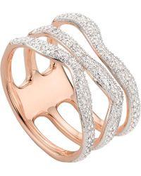 Monica Vinader   Metallic Riva Wave Rose-gold Vermeil Pavé Diamond Triple Ring   Lyst