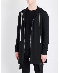Rick Owens | Black Longline Cotton-jersey Hoody for Men | Lyst