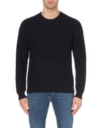 Sandro | Blue Electra Cotton And Wool-blend Jumper for Men | Lyst
