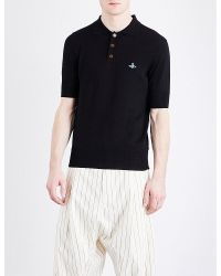 Vivienne Westwood | Black Logo-detail Cotton Knitted Polo Shirt for Men | Lyst