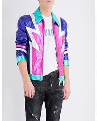 DSquared²   Pink Glam Rock Metallic Leather Jacket for Men   Lyst