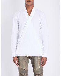 Balmain - White Kimono Cotton Shirt for Men - Lyst