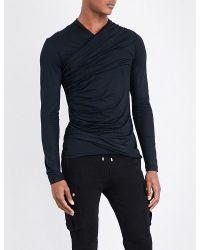 Balmain | Black Draped Cotton Top for Men | Lyst