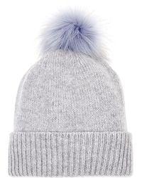 Helen Moore Gray Pom Pom Cashmere Beanie Hat