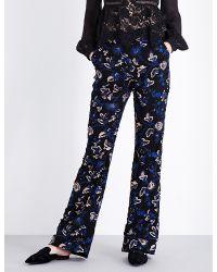 Self-Portrait Blue Floral-embellished Wide-leg Tulle Trousers
