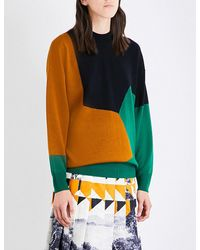 Dries Van Noten Green Tacey Geometric Wool Jumper