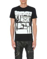 DIESEL | Black T-diego-hf Graphic-print Cotton T-shirt for Men | Lyst