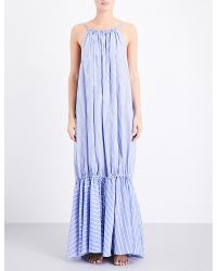 Three Graces London Blue Cassius Striped Cotton Maxi Dress