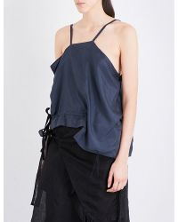 Phoebe English | Blue Draped Drawstring Silk Camisole | Lyst
