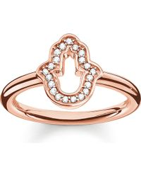 Thomas Sabo | Pink Fatima's Garden Rose Gold-plated And Zirconia-pavé Hand Of Fatima Ring | Lyst