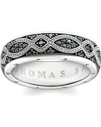 Thomas Sabo | Rebel At Heart Black Pavé Zirconia Promise Ring | Lyst