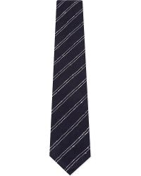 Thom Sweeney | Blue Double Stripe Silk-cotton Textured Tie for Men | Lyst