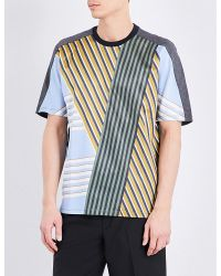 Wooyoungmi Blue Striped Silk And Jersey T-shirt for men