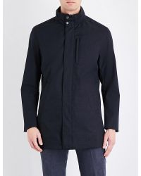 Armani - Blue Padded Shell Trench Coat for Men - Lyst