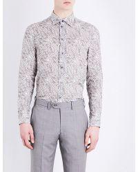 Armani   Multicolor Floral Pure Linen Shirt for Men   Lyst
