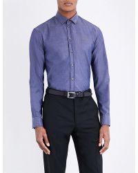 Armani | Blue Tailored-fit Chambray Shirt for Men | Lyst