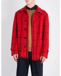 Dries Van Noten Red Viaan Checked Wool-blend Coat for men