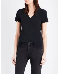 Rag & Bone | Black V-neck Cotton-jersey T-shirt | Lyst