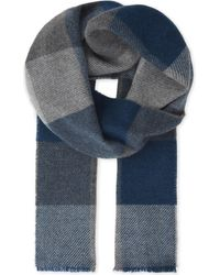 Johnstons | Blue Herringbone Cashmere Scarf for Men | Lyst