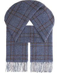 Johnstons | Blue Donegal Windowpane Cashmere Scarf for Men | Lyst