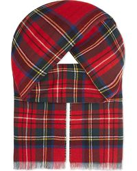 Johnstons | Red Double Faced Tartan/houndstooth Wool-cashmere Scarf | Lyst