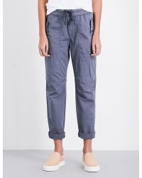 James Perse | Blue Relaxed-fit Cotton And Silk-blend Trousers | Lyst