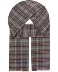 Johnstons | Green Check Merino Wool Scarf for Men | Lyst