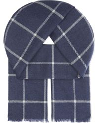 Johnstons | Blue Heritage Check Merino Wool Scarf for Men | Lyst