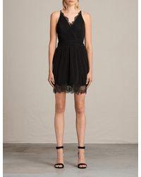 AllSaints Black May Pleated Crepe Dress