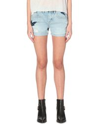 AllSaints - Blue Birds Denim Shorts - Lyst