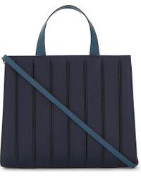 Max Mara Blue Whitney Leather Tote Bag