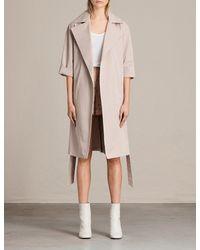 AllSaints Pink Luna Cotton-twill Trench Coat
