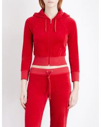 Juicy Couture | Red Cropped Velour Hoody | Lyst