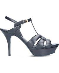 Saint Laurent - Blue Tribute 75 Leather Heeled Sandals - Lyst