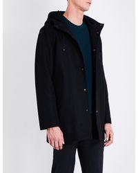 Sandro Black Hooded Wool-blend Coat for men