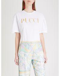 50768f81786c Emilio Pucci Glitter Logo-print Cotton T-shirt in White - Lyst