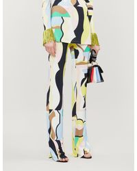 Emilio Pucci Multicolor Printed High-rise Crepe Trousers