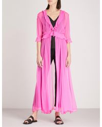 We Are Leone Pink Ruby Ruffled Silk-chiffon Maxi Jacket