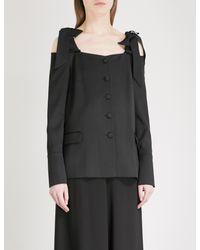 OSMAN Black Naya Off-the-shoulder Wool Jacket