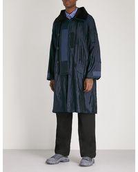 Sacai Blue Draped Silk-blend Jacket for men