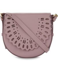 Whistles Pink Limited Leather Laser-cut Saddle Bag