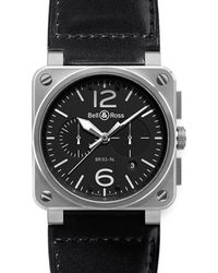 Bell & Ross Black Br0394-bl-si/sca Aviation Steel And Leather Watch for men