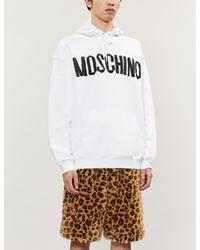 Moschino White Zip-appliquéd Cotton-jersey Hoody for men