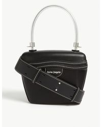 Palm Angels Black Leather Top Handle Bag