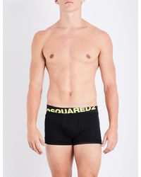 DSquared² - Black Neon Logo Stretch-cotton Trunks for Men - Lyst