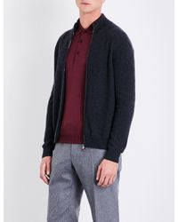 Corneliani Blue Zip-up Cashmere Cardigan for men