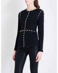 Balmain | Black Stud-detailed Wool And Silk-blend Jumper | Lyst